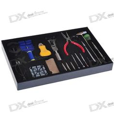 Professional 20-in-1 Tool Set Kit for Watch Repair. Perfect for those hobbyist who are interested in changing batteries, bands and minor repairs on watches - Package included: - 1 * Watch case opener knife - 1 * Watch case opener - 1 * 3 pins punch tools - 1 * Plier - 1 * Plastic base - 1 * Steel hammer - 1 * Link remover tool - 1 * Steel tweezers - 1 * Spring bar tool (62 mm& 82mm) - 3 * PNP Screwdrivers - 3 * PNP mini spring bar tool - 1 * Small screwdriver - 1 * Small plastic kit case…