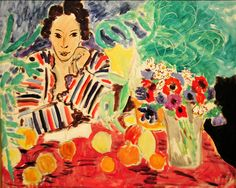 Henri Matisse - Striped Robe, Fruit, and Anemones, 1940 at Baltimore Art Museum Maryland Henri Matisse, Matisse Kunst, Matisse Art, Maurice De Vlaminck, Matisse Paintings, Vancouver Art Gallery, Andre Derain, Art Abstrait, Art Moderne