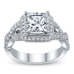 Great style, just wish it was a cushion cut instead of princess. The center stone is too squared off. Ladies 14K White Gold Diamond Engagement Ring - robbins brothers