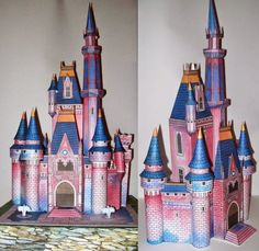 "The German website ""Seite (Page has hundreds of scans of paper model templates from old Disney magazines. This 1978 Cinderella Cas. Disney Diy, Disney Crafts, Old Disney, Cardboard Castle, Cardboard Crafts, 3d Paper Crafts, Paper Toys, Disney Vintage, Chateau Disney"