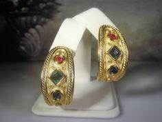 Etruscan Revival Earrings, Byzantine Earrings, Matte Gold Finish, Red Green Blue Crystals, Pierced Earrings, Huggie Earrings, Vintage by CarolsVintageJewelry on Etsy