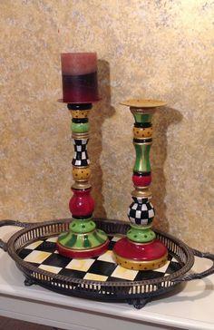 Hand Painted Wood Candle Sticks - custom - Single Piece via Etsy Looks like Mackenzie-Childs! Whimsical Painted Furniture, Painted Chairs, Hand Painted Furniture, Funky Furniture, Paint Furniture, Painted Wood, Painted Tables, Decoupage Furniture, Furniture Ideas