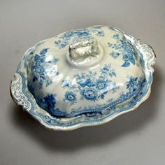 flow blue  sauce tureen  | Blue & White China | Antique & Vintage Blue and White China | Vintage ...