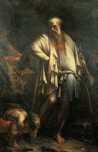 Diogenes casting away his cup by Salvator Rosa