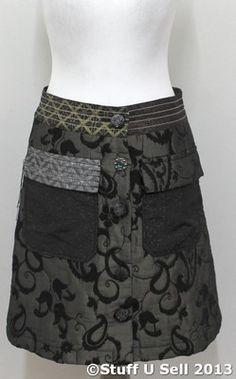 Desigual Ladies Button Front Patchwork Skirt with Appliqué Back