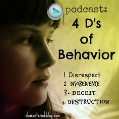 Donna Reish, from Character Ink (home of Raising Kids With Character, Homeschooling With Character, and Language Lady), answers listeners' questions about the Four D's of children's behavior: (1) Disrespect; (2) Disobedience; (3) Deceit; (4) Destruction... #childtraining #children #deceit