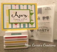 Why not use our New CTMH Inks and the Stamp of the Month, New Year's Cheer, to create a great Birthday card?  Use the measurements below to create your own masterpiece. Order the supplies at www.MissCarrie.ctmh.com