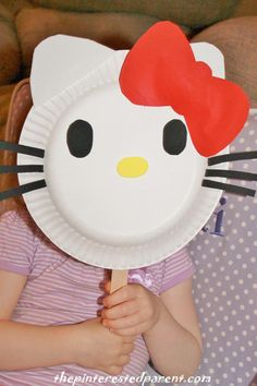 Paper plate Hello Kitty mask