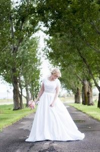 Ballgown with sleeves/ modest wedding dress/ sweetheart neckline with pockets found at Sweetheart Bridal
