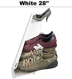 Amazon.com: j-me Horizontal Shoe Rack Organizer Mounted Wall Storage Shelf - Shoe Holder Keeps Heels, Sneakers and Sandals Off the Floor (White - 28 Inches): Kitchen & Dining
