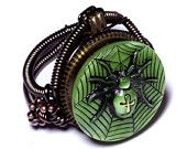 One of a Kind  Green Spider - ring