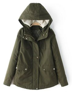 Casual Hooded Long Sleeve Pocket Design Solid Color Padded Coat For Women