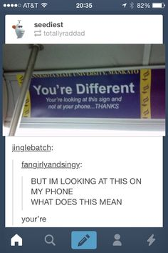 The person who said you're on that post is wrong! <------ look at the sign it says your're different