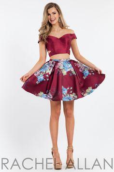 Rachel Allan 4420 Marsala Print Cap Sleeved Floral Two Piece Short Dress