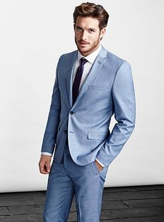 Chambray suit in 100% cool wool is the perfect look for Spring/Summer.  Mens Suits: Shop for a Suit for Men Online in Canada | Simons #menswear #suits #simons #Spring2014