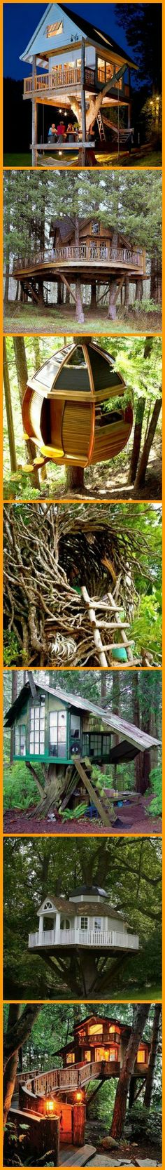 """Do these images make the child in you say """"I want one!"""" Check out our collection of tree houses in this album here http://theownerbuildernetwork.co/vo53 Which of these fulfills your childhood dream?"""