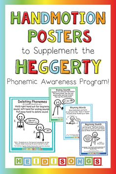 Handmotion Posters to Supplement the Heggerty Phonemic Awareness Program!You can find Phonemic awarene. Phonemic Awareness Kindergarten, Phonological Awareness Activities, Phonics Activities, Kindergarten Writing, Kindergarten Worksheets, Kindergarten Posters, Literacy, Reading Fluency, Reading Intervention