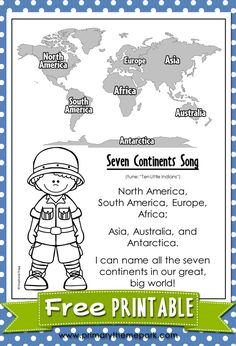 Free Seven Continents Song Printable. NA, SA, Europe, Asia, and there's Africa. Australia and Antarctica, seven continents that float on the sea