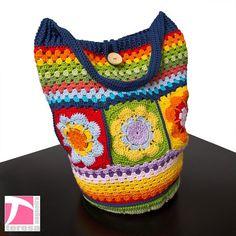 Colorful flower and striped crochet shoulder bag