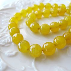 Yellow agate beads 15 strand agate gemstone beads 8mm by FARRAgem,