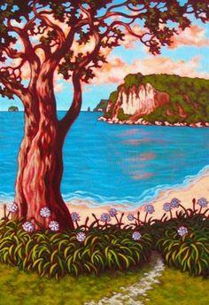 Showcasing the artwork of Rachel Olsen, artist painter from Cooks Beach on the Coromandel Peninsula NZ New Zealand Art, Nz Art, Beach Art, Summer Colors, Olsen, Contemporary Artists, My Images, Art Gallery, Colours