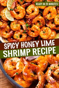 Spicy Honey Lime Shrimp a quick 1520 minute one pan recipe thats perfect for weeknight dinner Garlicky sweet and spicy these shrimps are perfect as a main dish taco. Spicy Shrimp Recipes, Shrimp Recipes For Dinner, Salmon Recipes, Fish Recipes, Easy Dinner Recipes, Fish And Shrimp Recipe, Recipe For Precooked Shrimp, Spicy Shrimp Sauce Recipe, Spicy Shrimp Pasta