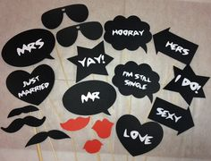 Wedding Photo Props  Photo booth props  18pcs  by madforads