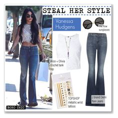"""""""STEAL HER STYLE: VANESSA HUDGENS"""" by zafirahx ❤ liked on Polyvore featuring J Brand, Alice + Olivia, The Row, Topshop, topshop, Stealherstyle, VanessaHudgens and JBrand"""