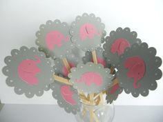 Pink and Grey Elephant Cupcake Toppers Qty 12--Baby Shower--Birthday Party. $4.50, via Etsy.