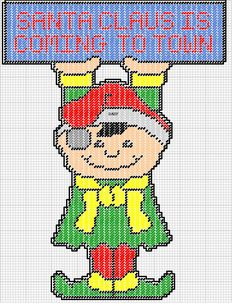 SANTA CLAUS IS COMING TO TOWN by DAISY*STITCHEMS -- ELF WALL HANGING 2/2