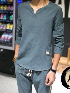 V-Neck Ethnic Printed Linen Leisure Men's Long Sleeve T-Shirt - m.tbdress.com