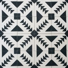 Modern Black and White Encaustic Cement tile. HANDMADE IN MOROCCO  Each tile has been hand poured into individual copper molds, hydraulically pressed and air dried, using traditional techniques that have been used for hundreds of years.