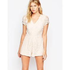 Love Plunge Neck Playsuit in Lace ($36) ❤ liked on Polyvore featuring jumpsuits, rompers, blush, playsuit jumpsuit, fitted romper, fitted jumpsuits, tall romper and plunge neck romper