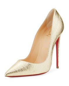 S175C Christian Louboutin So Kate Metallic 120mm Red Sole Pump, Gold