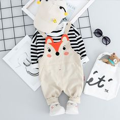 Baby / Toddler Trendy Striped Long-sleeve Tee and Fox Print Overalls Set Baby Outfits Newborn, Baby Boy Outfits, Kids Outfits, Asian Boy Haircuts, Baby Park, Sewing Baby Clothes, Boys And Girls Clothes, Matching Family Outfits, Toddler Boys