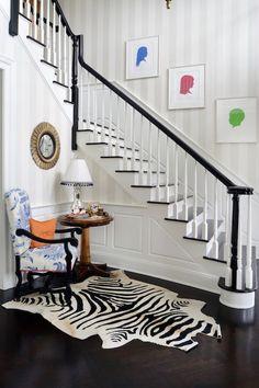 Hallway white grey dark wood