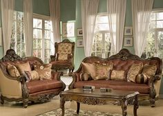 American Pastoral Series Leather Sofa Set Luxury Villa Living