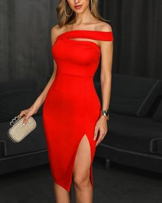 One Shoulder Slit Party Dress Shop- Women's Best Online Shopping - Offering Huge Discounts on Dresses, Lingerie , Jumpsuits , Swimwear, Tops and More. Trend Fashion, Look Fashion, Womens Fashion, Mode Outfits, Dress Outfits, Fashion Dresses, Red Dress Outfit, Classy Dress, Classy Outfits