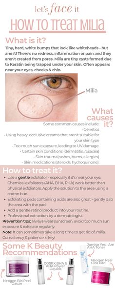 Learn more about those tiny, white, hard bumps around your eyes & cheeks (aka Milia) and treating it with Korean skincare in our How To Treat Milia Guide Bumps Under Eyes, Korean Beauty Tips, Black Skin Care, Korean Skincare Routine, Beauty Routines, Beauty Skin, Skin Care Tips, Beauty Hacks, Sebaceous Filaments