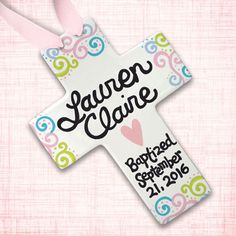 Baptism Gift - Baptism Gift Girl - Godchild Gifts - Baptism Gifts for Godparents - Personalized Baptism Cross - Baptism Cross, Baptism Favor Baptism Reception, Baptism Gifts For Girls, Baby Dedication, First Communion Gifts, Godchild, Cross Paintings, Christening Gifts, Christian Gifts, Baby Gifts
