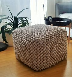 Crochet grey/white/blue/green pouf-ottoman / Knit Stuffed ottoman / Crochet footstool – Home & Living Pouf Ottoman, Grey Ottoman, Blue And Green, Grey And White, Bean Bag Pattern, Crate And Barrel, Make And Do Crew, Home Living, Grey