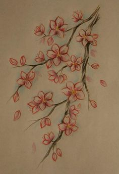 cherry blossom tattoo, love this as it has soft edges and is very colorful