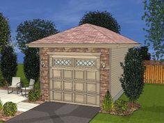 1-Car Garage Plans   Detached One-Car Garage Plan with Hip Roof Design # 050G-0012 at TheGaragePlanShop.com