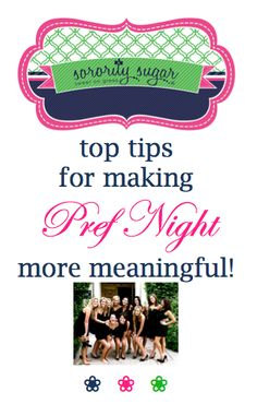 Preference Night should be more serious than your other rounds, but that doesn't mean the party should be boring! Set an atmosphere of serenity, enchantment and elegance. Your PNMs are honored guests at your house for a very sincere event meant to result in your sorority being listed #1 on their final ranking cards. Here are some top tips to add extra meaning. <3 BLOG LINK: http://sororitysugar.tumblr.com/post/108275159634/sorority-sugar-guide-to-making-pref-night-more