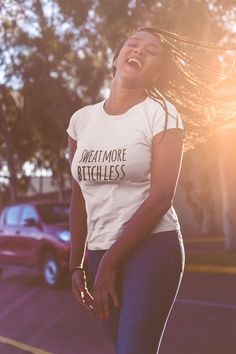 Discover Sweat More Bitch Less Damen T-Shirt from Gymster Shirts, a custom product made just for you by Teespring. - Add some fun to your sport wardrobe with this. Gym Shirts, Shirts For Girls, Girl Power T Shirt, Bitch, Brown Girl, Queen, Cotton Tee, Spun Cotton, Black Women