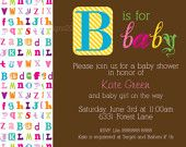 Baby Alphabet Digital Shower Invitation