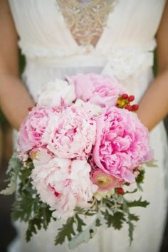 pink peony bouquet - with navy/white stripped ribbon