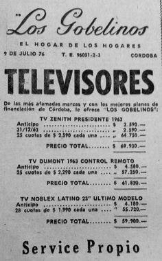 Publicidad de tienda LOS GOBELINOS, de la ciudad de Córdoba, donde anuncian la venta y service de diferentes marcas y modelos de televisores. Diario LOS PRINCIPIOS, 1963.