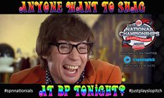 """It's #spnnationals Eve!  Anyone Want to Shag?  At """"BP"""" tonight? #justplayslopitch Have fun! Congratulations and GOOD LUCK to all the teams at the Slo-Pitch National Championships this weekend: Calgary Mens 40 Comp I, C Coed D Red Deer Mens 50 I, E, 60 Winnipeg Mens E Coed E, Womens D Moncton Mens B, D, Coed C, Womens C. Follow @spnslopitch on Twitter for Scores, Results and More. National Championship, Pitch, Have Fun, Congratulations, Red Deer, Calgary, Twitter, Scores, Eve"""