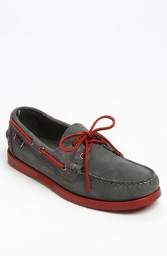 Charcoal Boat Shoes w/Blood Red Laces